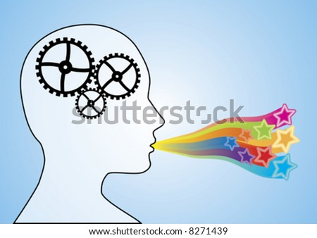 Concept illustration depicting cogs working in the brain with the mouth speaking creatively.