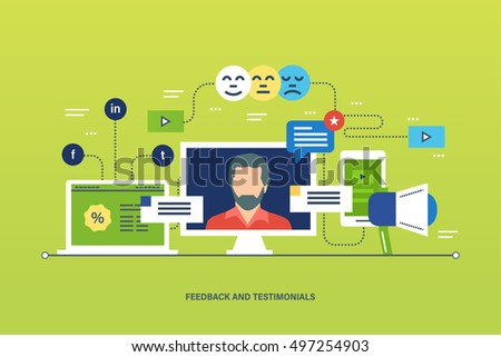 Concept illustration - feedback, reviews and rating, testimonials, like, communication. Voting system, communications and technology reviews. Editable Stroke. Vector illustration.