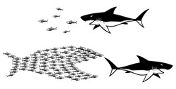 Concept illustration for unity and strength in numbers, with shark and small fishes.