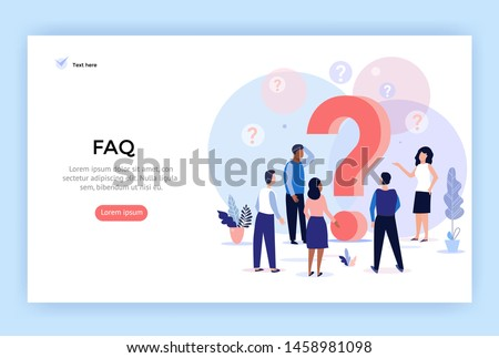Concept illustration Frequently asked questions, people around question marks, perfect for web design, banner, mobile app, landing page, vector flat design