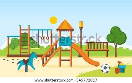 Concept illustration - kids playground, entertainment in the form of horizontal bars and swings, recreation park, children's toys. Vector illustration. Can be used as banners, commercial materials.