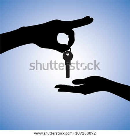 Concept illustration of buying and selling house in real estate market. The hand holding the key chain is the seller or the owner and the arm receiving the house key is the buyer or purchaser.
