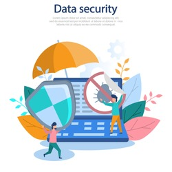 Concept illustration of cybersecurity, data protection, computer technology, online, web, hacker, protection. Color flat vector design