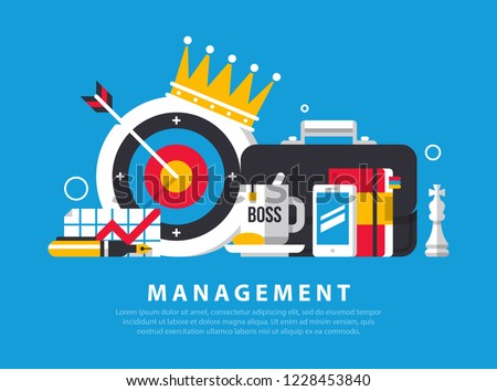 Concept illustration of management and administration. Mug with the word