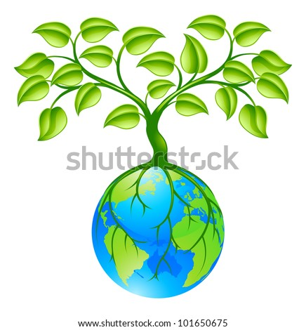 Concept illustration of planet earth world globe with a tree growing on top. Any number of green environmental or business growth interpretations.