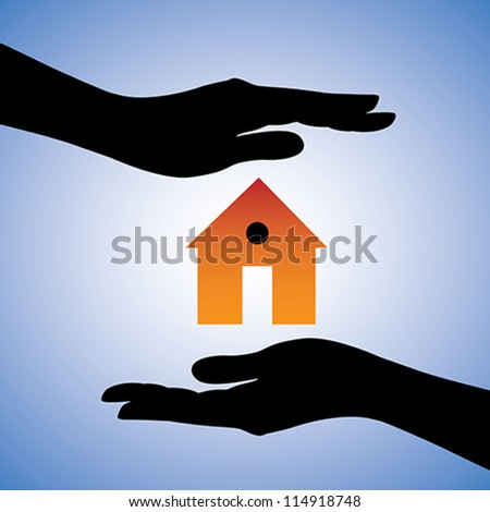 Concept illustration of protection of house/home. This can represent concept of home insurance or installing security system for safety etc. The graphic contains two female hands and a house symbol.