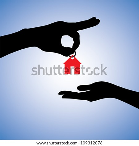 Concept illustration of selling or gifting house in real estate market. The hand holding a red house key chain is the seller or the owner and the arm receiving the house key is the buyer or purchaser.