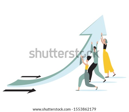 Concept illustration of team force are changing direction of financial arrow