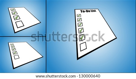 Concept Illustration of to do list or task list - perspective view of a while paper with different tick boxes ticked (3 different views)