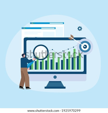 concept illustration of worker checking data analyst