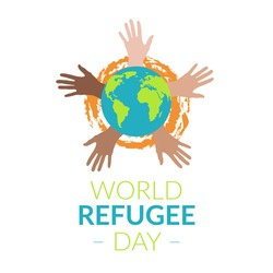 Concept illustration of World Refugee Day, planet Earth, in the background waving his hands of various colors on his skin, with the inscription. On white background. In a flat style.