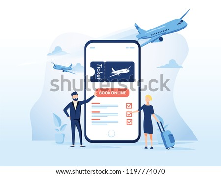 Concept illustration template of Book your flight. Modern flat design concept for web page design for website and mobile website. Easy to edit and customize. Vector illustration. Ticket booking