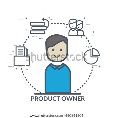 Concept illustration, website banner, flyer template with product owner icon and agile software development process line icons: prioritization, reports, scrum product backlog, people management