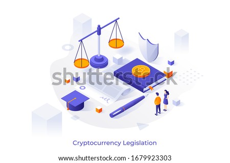 Concept illustration with giant paper agreement, bitcoins, scales of justice and tiny people. Cryptocurrency legislation, legal protection of blockchain technology. Isometric vector template. Сток-фото ©