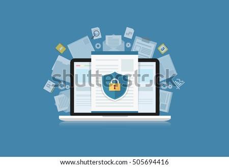stock-vector-concept-is-data-security-access-shield-on-computer-desktop-or-laptop-protect-sensitive-data