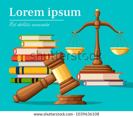 Concept justice in cartoon style. Justice scales and wooden judge gavel. Law hammer sign with books of laws. Legal law and auction symbol. Vector illustration isolated on turquoise background