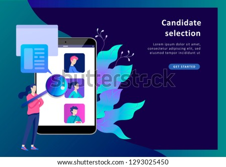 Concept Landing page template Human Resources and selection candidates, banner, presentation, social media. Recruitment for web page. Vector illustration filling out resumes, hiring employees #1293025450