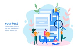 Concept large tablet with check, contract conclusion for web page, banner, presentation, social media, documents, cards, posters. Vector illustration information search, Mobile payment, Banking