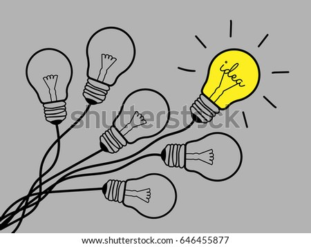 Concept Light Bulb design Black line icon vector,Idea sign,brainstorm, solution, thinking concept. Lighting Electric lamp. Electricity, shine. isolated on gray background.