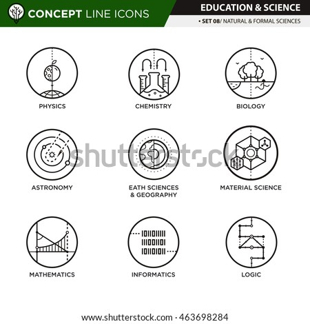 Concept Line Icons Set 7 Natural formal sciences