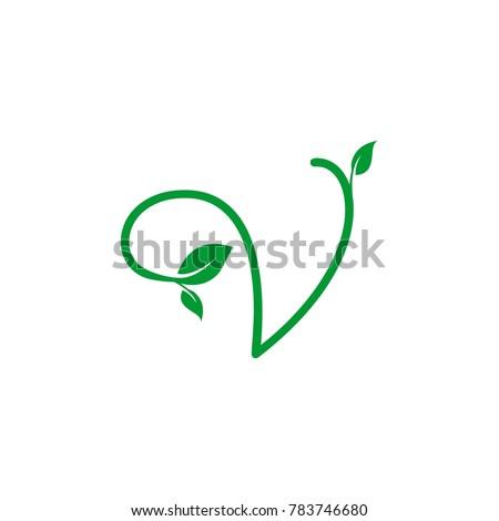 concept logo leaf letter v