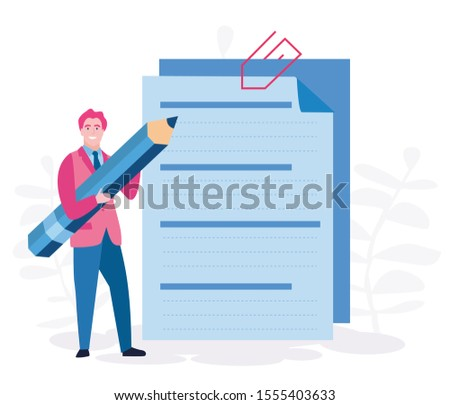 Concept man fill out a form, application form for employment. businessman select a resume for a job for web page, presentation, social media, documents. Vector illustration employee writes a summary