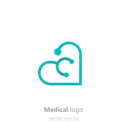 Concept Medical logo.Stethoscope in the shape of heart. Logotype for clinic, hospital or doctor. Vector flat gradient illustration