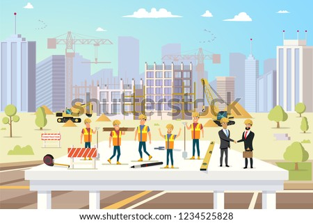 Concept Modern City Construction Buildings. Vector Illustration Cartoon Group of Man Builders and Engineers. Workflow for Construction new City Building. Successful deal Contractors