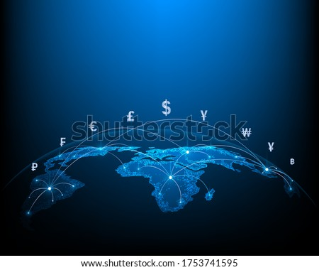 Concept network of money transfers and currency exchanges between countries of the world Stok fotoğraf ©