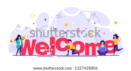 Concept new team member, welcome word, people celebrate, for web page, banner, presentation, social media, documents, cards, posters. meeting, greeting concept Vector illustration Сток-фото ©