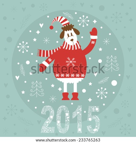 Concept 2015 new years card with cute sheep vector illustration