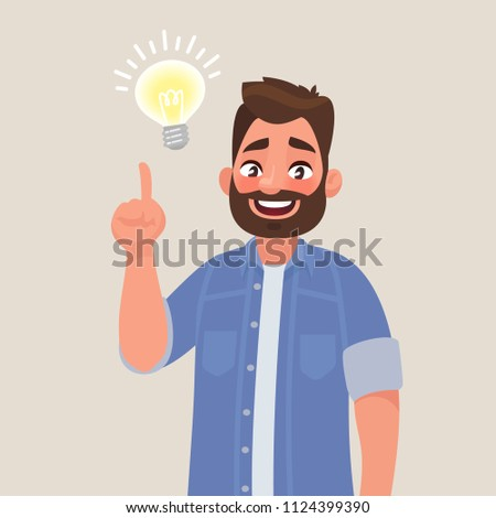 Concept of a great idea. Man shows gesture. Solution of the problem. Vector illustration in cartoon style
