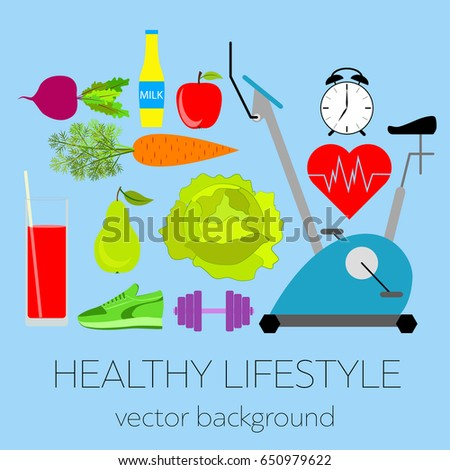 Concept of a healthy lifestyle, assorted fresh vegetables, sports equipment, vector background, healthy food, banner,