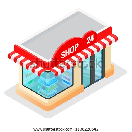 Concept of a modern graphic vector trade building for web design online store, application and other of your project. Shop construction. Isometry and 3d design. Store model with purchases and goods.