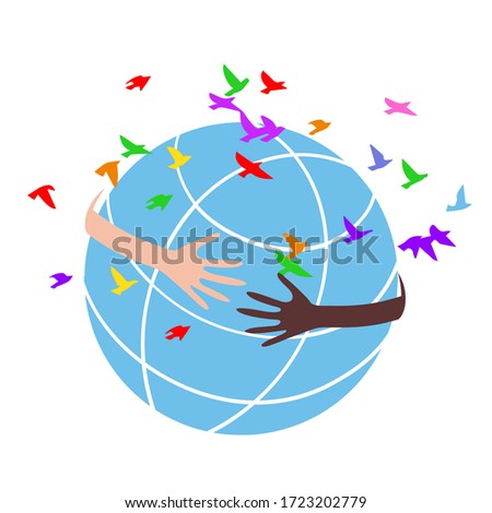 Concept of a volunteer with hands of different skin tones forming a circle around the globe. Stock photo ©