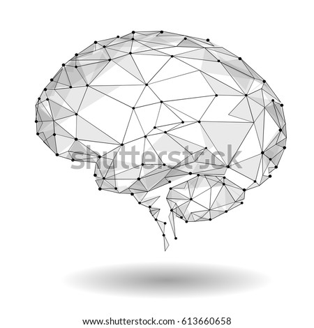 Concept of Active Human Brain with Binary Code Stream. Human Brain Covered with fall of Binary Numbers. Technology Low Poly Design of Human Brain. Brain with Binary Digits. Symbol of Wisdom. point
