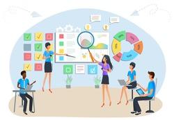 Concept of agile project management, software development process. Business teamwork. Team brainstorming. Tasks planning and management. Workshop training of office staff. Market statistics analysis