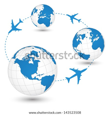 Concept of Airplane, Air Craft Shipping Around the World for Transportation Concept, Vector Illustration EPS 10.