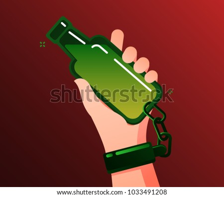 Concept of alcohol addicted. Alcoholic addicted holds and is chained to the bottle. Flat design, vector illustration.