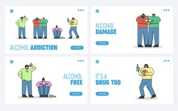 Concept Of Alcoholism, Drink Alcohol. Website Landing Page. Group Of Drunk People Drinking Beer, Wine, Alcohol Dependence Of Population. Web Page Cartoon Linear Outline Flat Vector Illustrations Set