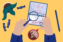 Concept of an rejected working American visa, top view. Employee's hands rejected American visa. Coffee and candy color the flag. A desk at the embassy. Vector illustration in flat style