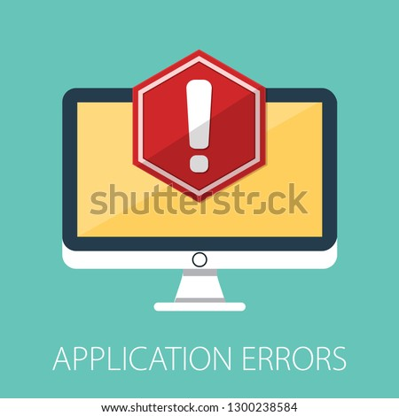 Concept of application error. Attention message bubble. Red alert warning of spam data, insecure connection, scam, virus. Vector illustration