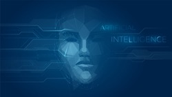 Concept of artificial intelligence face, robot face combined with electronic circuit, machine learning, cyber mind education