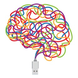 Concept of artificial intelligence with a USB key and its connecting wires of different colors, which take the form of a human brain.