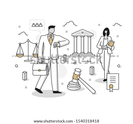 Concept of attorney company. Business lawyers & legal services consulting. Professional legal support. Line illustration for website or printed media