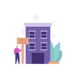 concept of auction house, property business, pawnshop. a businessman holding a hammer and standing next to the apartment. flat style. vector design