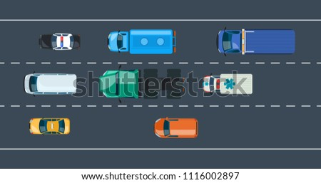 Concept of automobile traffic around the city and highway, motorway. Multi-lane road with one-way urban traffic. Different types of cars and public transport, car fleet. Vector illustration.