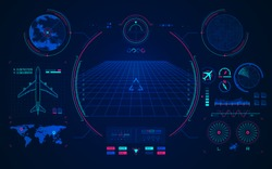 concept of aviation technology, graphic of airplane interface with digital radar
