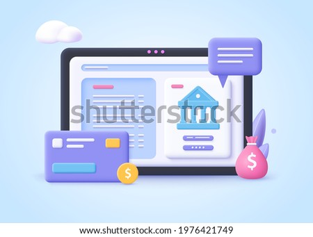 Concept of Banking Operation.  Financial transactions, payments, online banking, money transfers and bank account. 3d vector illustration.