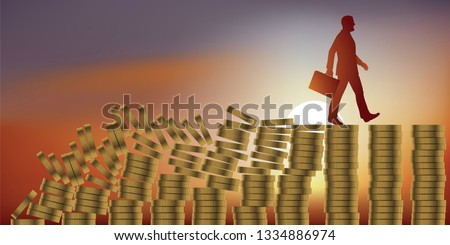 Concept of bankruptcy and stock market crash, with a man walking quietly on piles of coins, without seeing that the entire financial system collapses behind him and will drive him to bankruptcy.